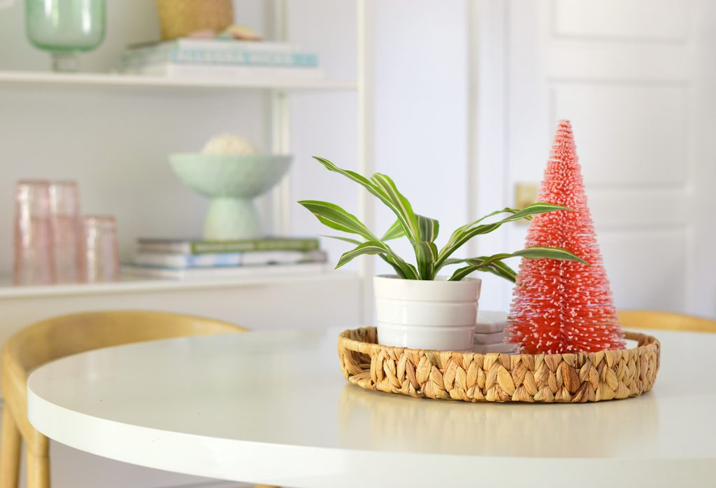Breakfast Tabletop With Red Bottlebrush Christmas Tree