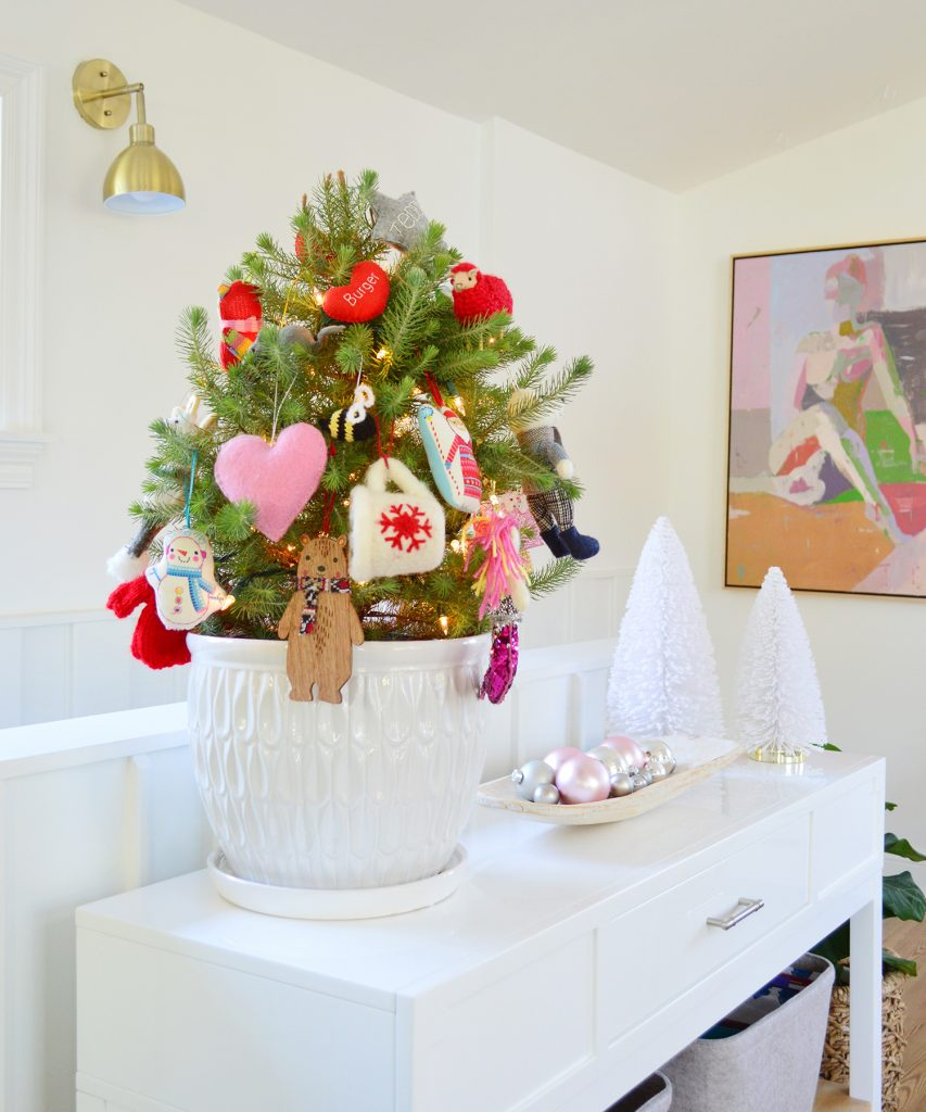 Small Tabletop Tree In White Pot With Colorful Ornaments
