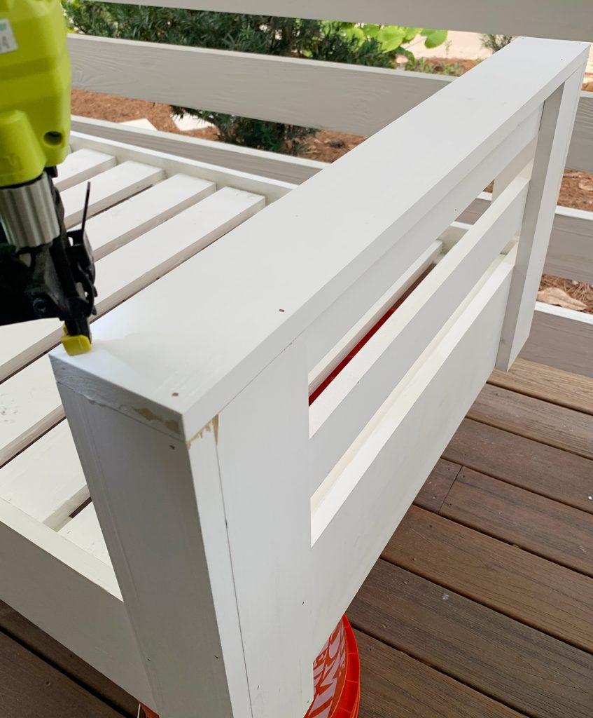 Nailing top piece to daybed arm
