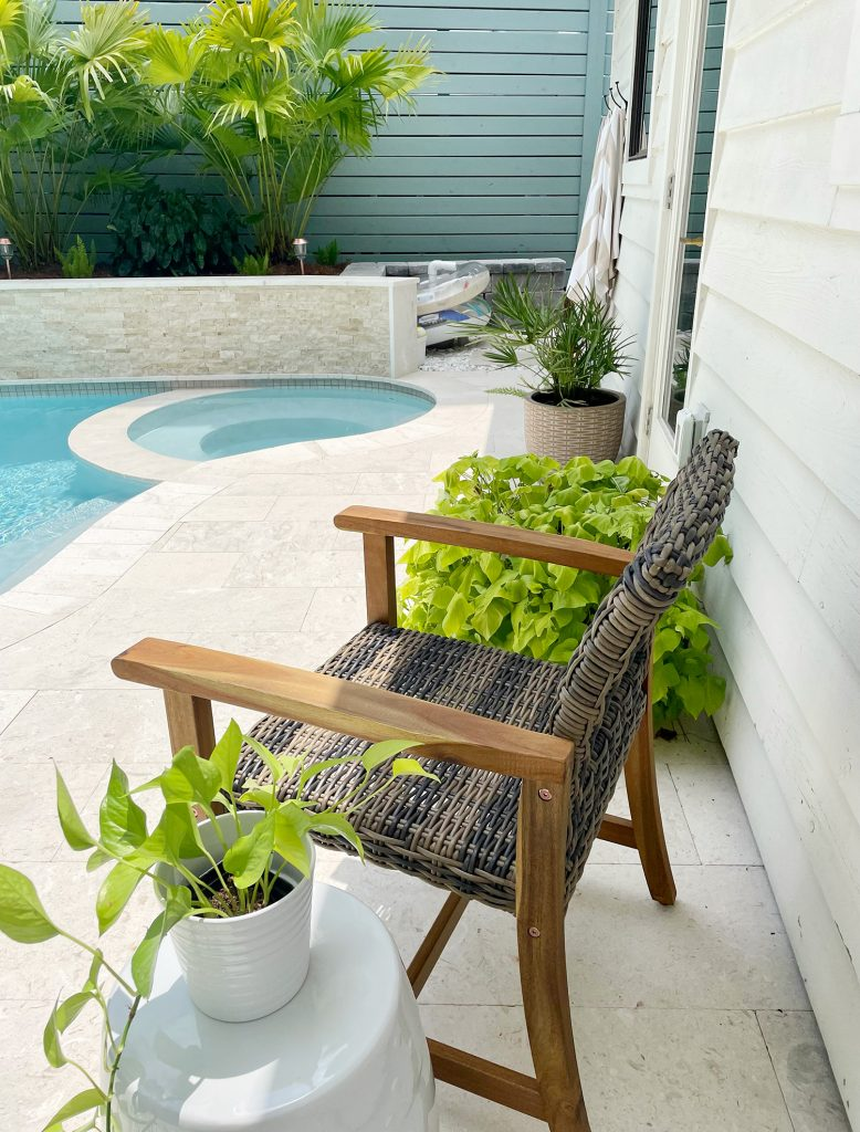 View of pool patio material showing tone-on-tone color scheme of tile selections