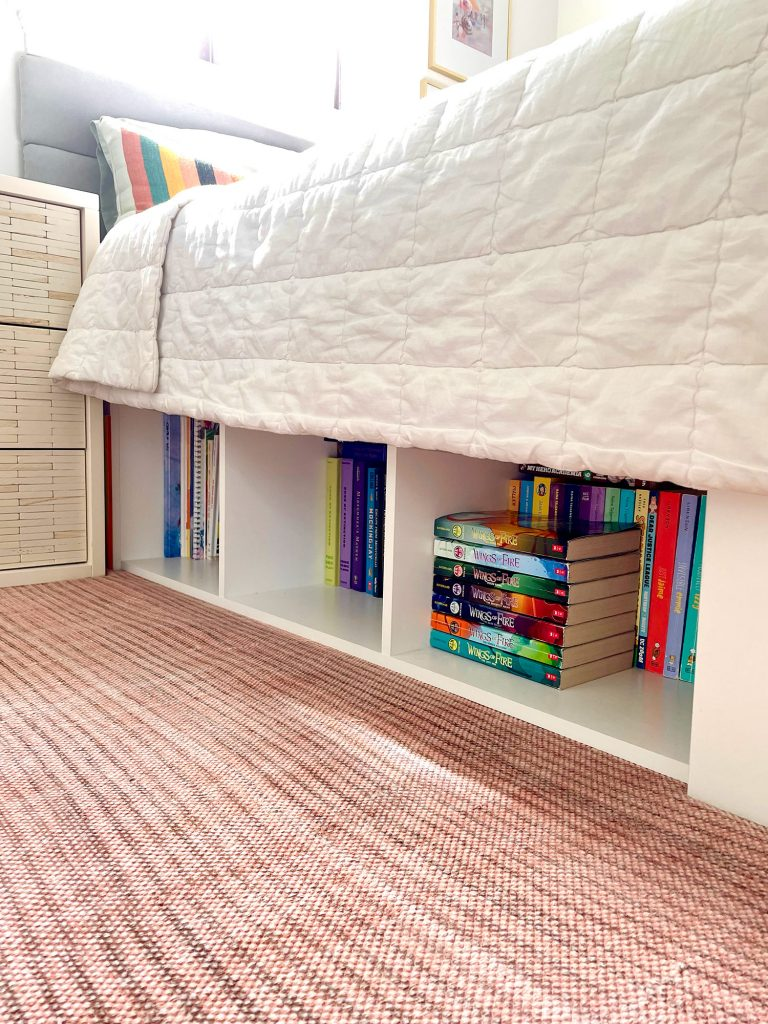 Under Bed Storage With Cubby Style Bookshelf