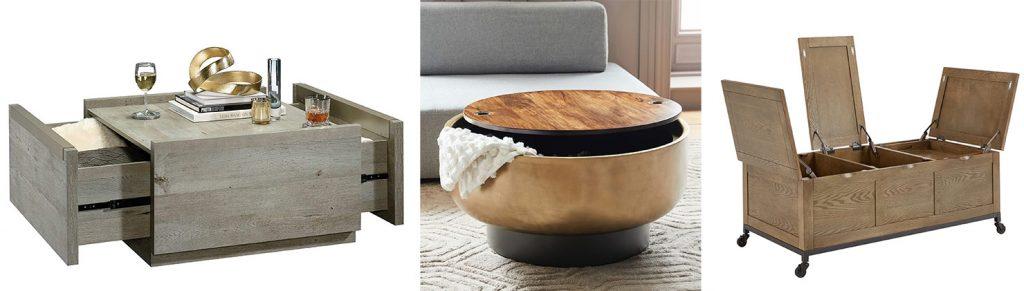 Storage Moodboard of 3 Hidden Storage Coffee Tables