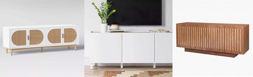 Storage Pieces Moodboard With 3 TV Credenza Storage Options