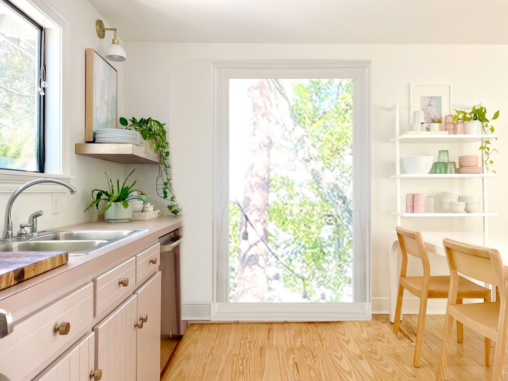 Photoshop Rendering Of Doorway In Place Of Mauve Cabinets And One Window