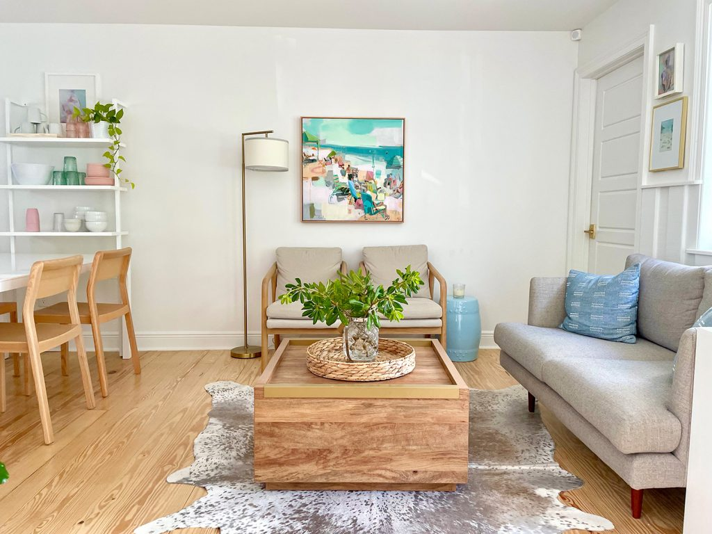 Beach Kitchen Seating Area With Loveseat Chairs And Painting