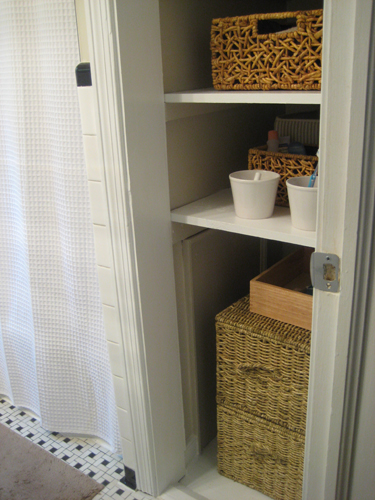 bathroom linen closet. Could you live with an open linen closet or do think some things are  better left behind closed doors And don t worry we re totally aware Take The Door Off Your Bathroom Linen Closet For A Chic Open