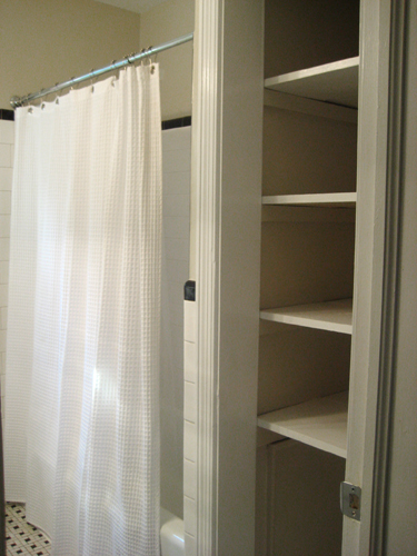 bathroom linen closet. Then  Take The Door Off Your Bathroom Linen Closet For A Chic And Open