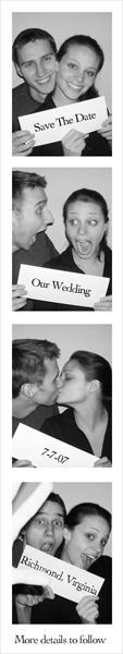 wedding save the date in the style of a photobooth strip
