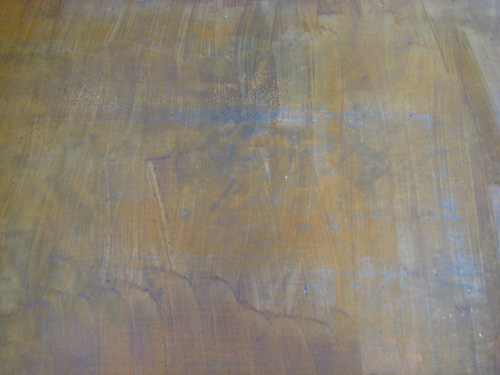 Failed Attempt At Staining A Darker Brown Color On Concrete Floor Over Yellow Stain