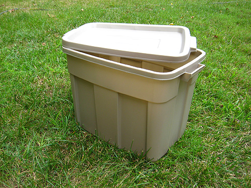 We Picked Up This Rubbermaid Version At Loweu0027s For $7 In Hopes That The  Neutral Color Would Help It Blend In With Our Backyard.