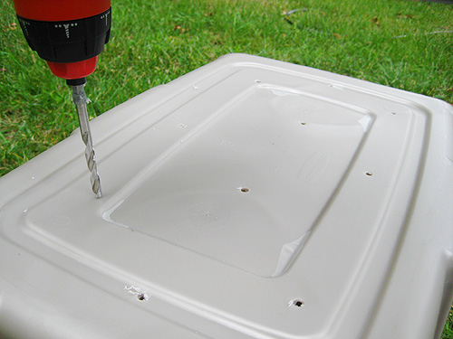 drilling holes in bottom of diy compost bin