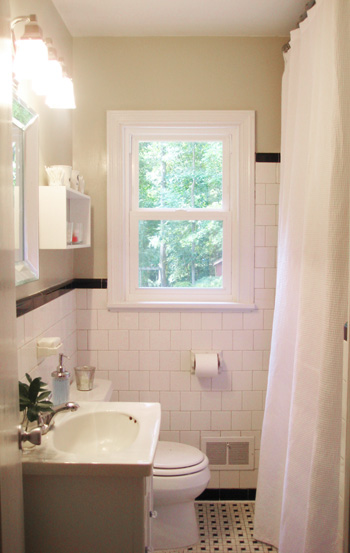 Add height and drama to your bathroom makeover by raising for Small bathroom high ceiling