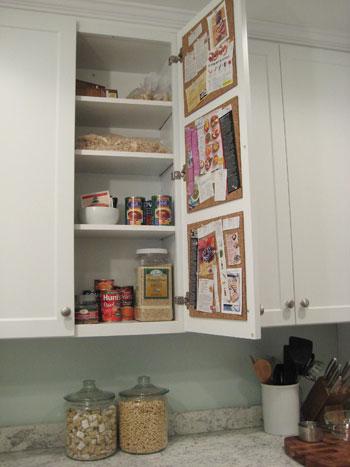 Create A Hidden In Cabinet Cork Board Message Center It S