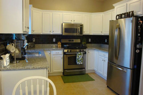 And Here It Is After We Encouraged Her To Paint Cabinets A Crisp Glossy White Tone Along With Dining Room Chairs While The Table Went Black