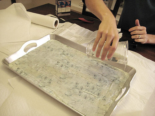 faux marble tile a tray with moo minicards and liquid