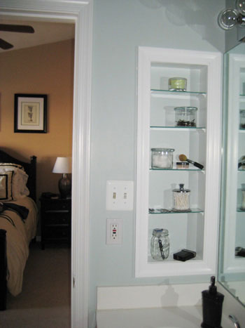 how to turn an medicine cabinet into an open shelved