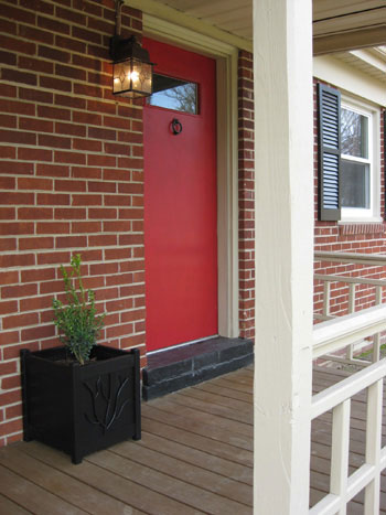 Red brick ranch house with door car interior design - Red brick house black shutters ...