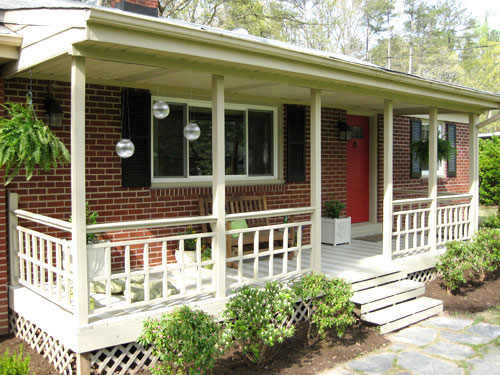 About wood shutters on pinterest rustic shutters brick exterior - Our 498 Front Porch Makeover It S Done Young House Love