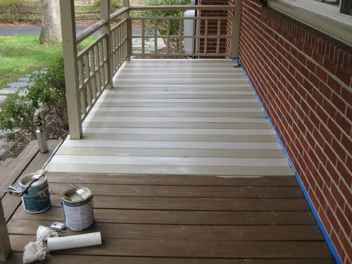 How To Paint A Wood Deck Or Front Porch We Did Subtle Stripes Young House Love