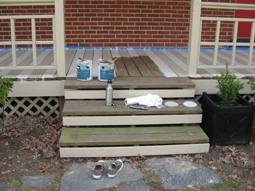 How to paint a wood deck or front porch we did subtle for Front step designs wood