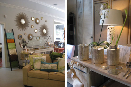 gold-tree-trunk-planters-sunburst-mirrors-savannah-one-fish-two-fish