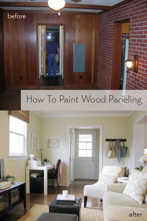 how to paint wood paneling young house love. Black Bedroom Furniture Sets. Home Design Ideas