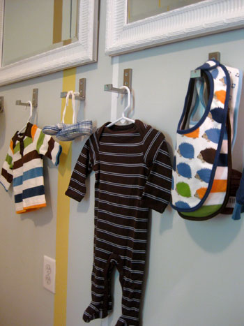 Adding Fold Down Wall Hooks For Clothes In A Nursery