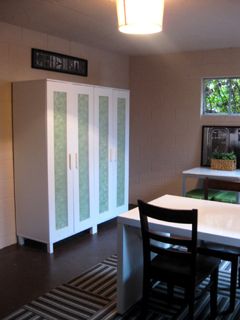 Basement Updates Using Gift Wrap To Obscure Clear Doors