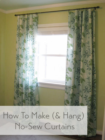 how to make no sew curtains and make a window look way. Black Bedroom Furniture Sets. Home Design Ideas