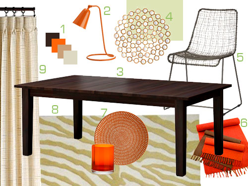 Warm And Cozy Dining Room Moodboard: Mood Board Making: An Orange, Brown, And Tan Dining Room