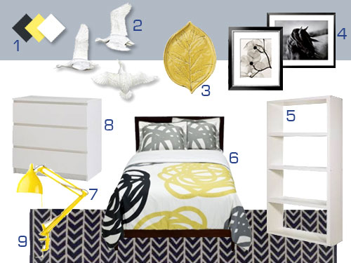 Mood Board Making A Gray White And Yellow Bedroom