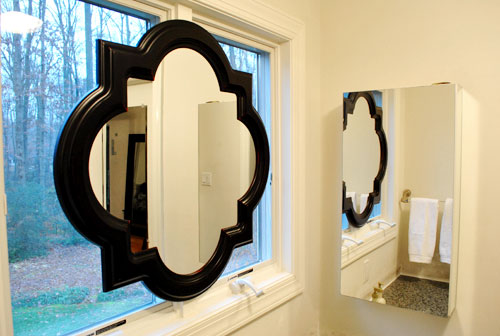 hanging a sink mirror in front of a window young house love. Black Bedroom Furniture Sets. Home Design Ideas