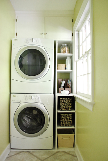 adding built in shelves next to our washer dryer young house love. Black Bedroom Furniture Sets. Home Design Ideas