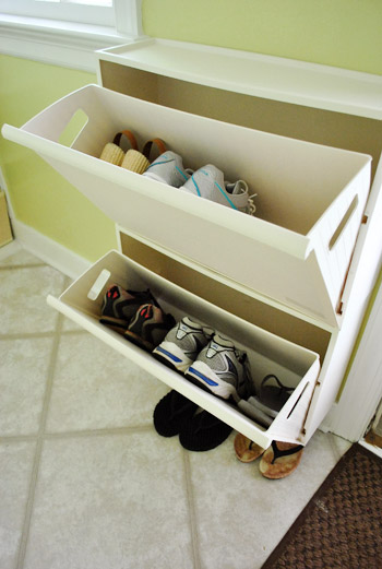Adding Some Shallow Shoe Storage By The Door Young House