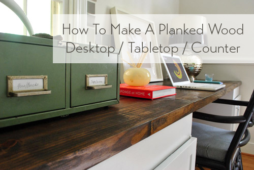 How To Make A Planked Wood Desktop Counter | Young House Love