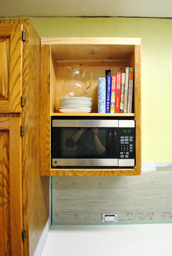How to hide a microwave building it into a vented cabinet - How to vent a microwave on an interior wall ...