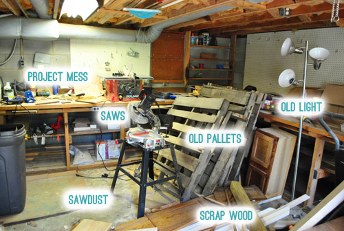my shame revealing our messy basement workshop young house love