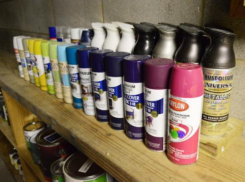 paint storage pegboards in our basement workshop young. Black Bedroom Furniture Sets. Home Design Ideas