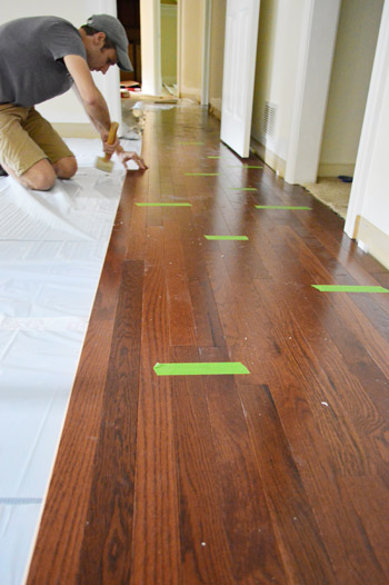 How to install oak hardwood floors young house love for Laying hardwood floors