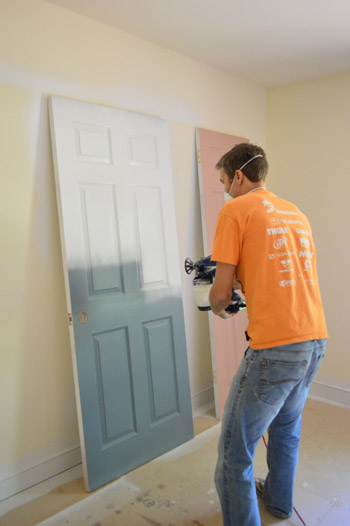 Priming and painting our trim and doors with a paint for How to spray paint doors