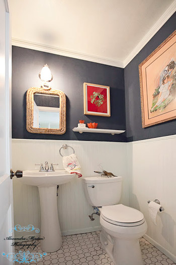 Reader redesign bathroom red white blues young house for Bathroom redesigns