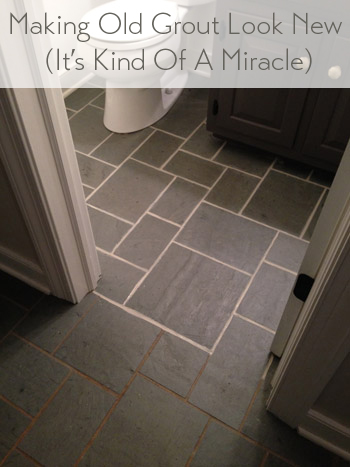 Making old discolored grout look like new young house love - How to clean old bathroom floor tiles ...