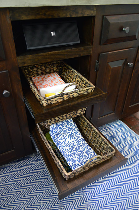 adding diyed pull out basket drawers in the kitchen young house love. Black Bedroom Furniture Sets. Home Design Ideas