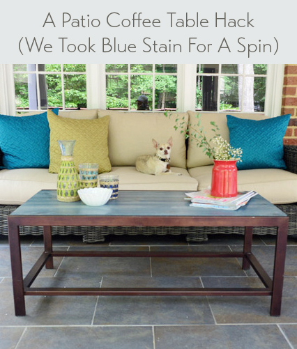 making an outdoor coffee table blue stain