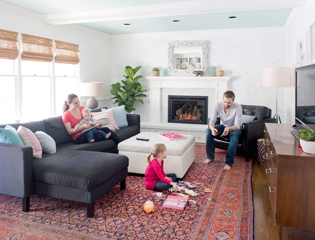 11 when design styles collide at home young house love for Living room ideas young family