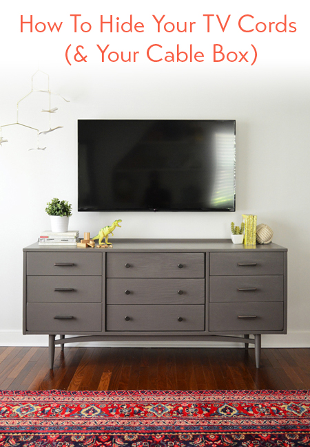 How to hide tv wires for a cord free wall young house love for Hiding a tv in the living room