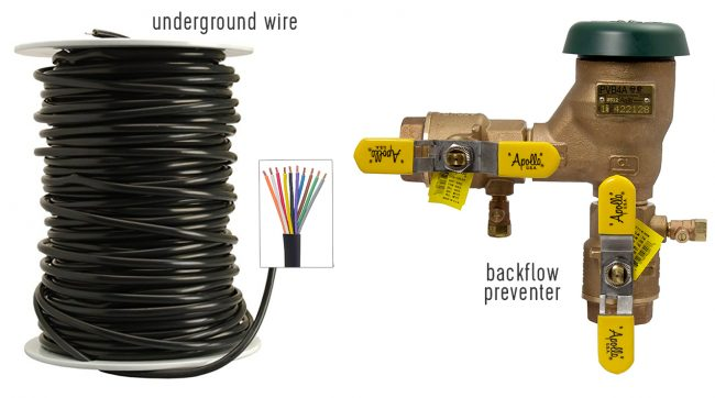 irrigation system materials underground 10 conductor wire backflow preventer