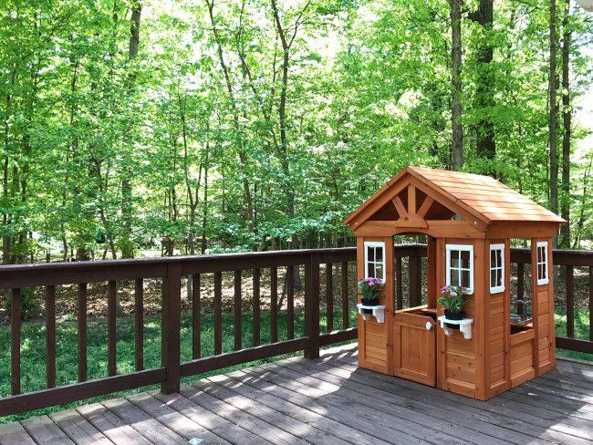 backyard discoveries cedar wooden playhouse on deck