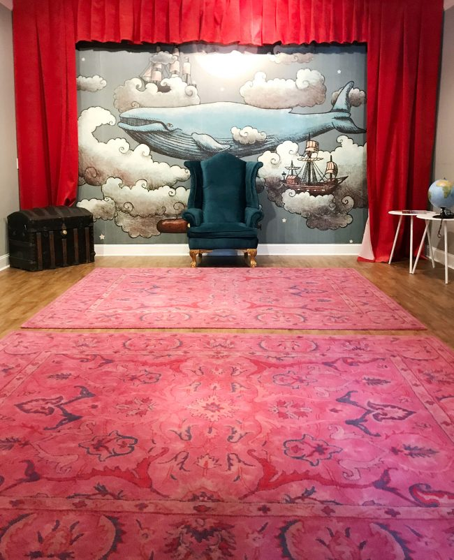 kids room ideas storytime room with pink rugs