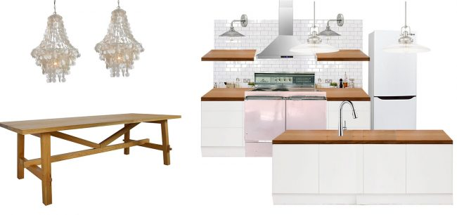 beach house kitchen planning tool mood board with dining table